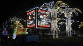 Christmas decorations light up the streets of Lagos on December 18, 2017.