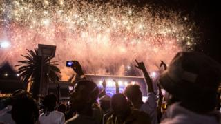 Fireworks at Mary Fitzgerald Square, Johannesburg, South Africa- Monday 1 January 2018