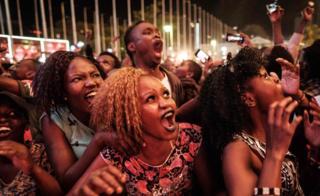 Crowds cheering in the New Year in Nairobi, Kenya - Monday 1 January 2018