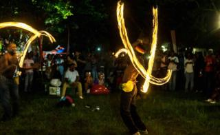 Fire spinners performing at Victoria Falls Farm School - Monday 1 January 2018