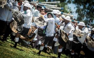 Shembe followers take part in a cleansing ceremony in a Durban township, South Africa - Sunday 31 December 2017