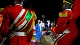 Soldiers with drums standing before President Omar al-Bashir, Khartoum, Sudan - Sunday 31 December 2017
